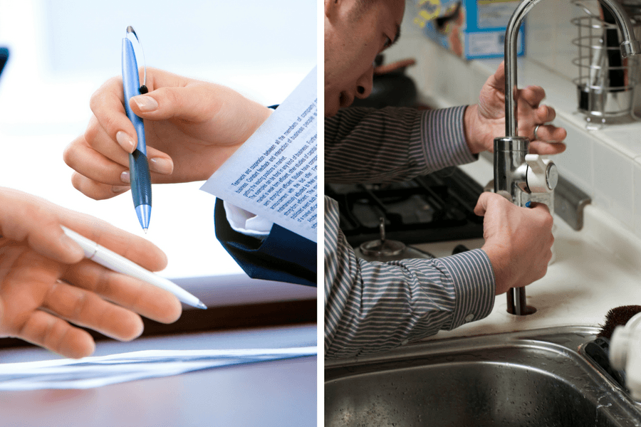 Man signing Rent Guaranteed Insurance vs Rent My Home Today representative fixing sink